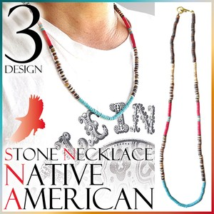 Native American Necklace Stone Brass Surf Men's