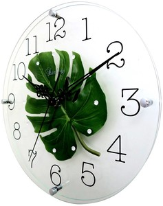 Art Flower Clock Wall Clock Monstera