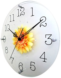 Art Flower Clock Wall Clock Yellow