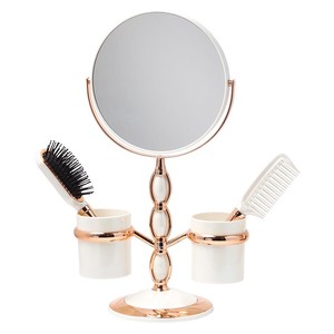 Fan Stand Alone Mirror Brush Comb Attached Magnifying Glass Interior Mirror