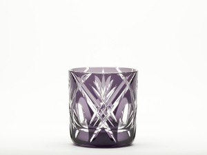 Edo-kiriko Cut Glass Japanese sake cup Purple