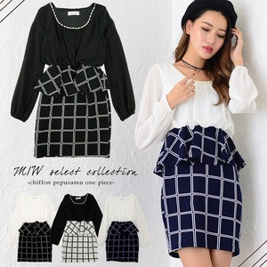 Chiffon Plum One-piece Dress Checkered Sexy Skirt