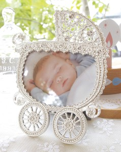 Baby Photo Frame Silver Pearl White