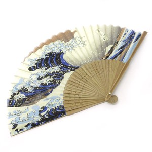 Fashion Accessory Japanese Style Silk Folding Fan Kanagawa