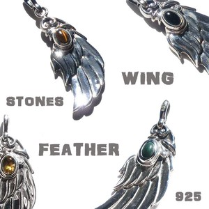 Silver 925 Eagle Feather Pendant Natural stone