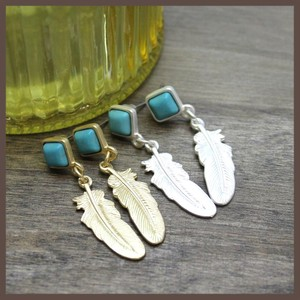 Feather Metal Pierced Earring