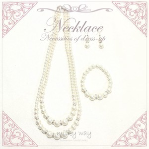Fine Quality Double Pearl Necklace Bracelet Pierced Earring 3-unit Set Fancy Goods