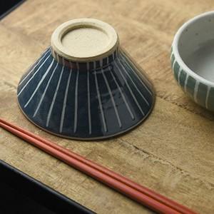 手しごと 13cm富士山型茶碗 あい 十草[H161][日本製/美濃焼/和食器]