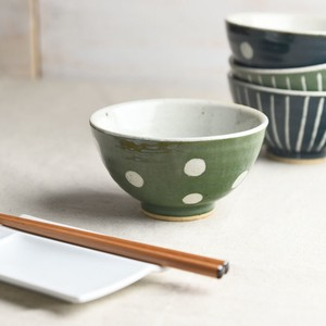 TESHIGOTO Bowl Green Dot MINO Ware