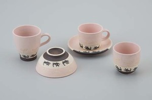 Everyday cat Pink Rice Bowl Japanese Tea Cup Mug Coffee Plate