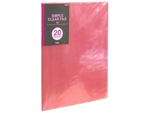 Plastic Folder Pocket Pink