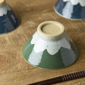 TESHIGOTO Mt. Fuji Japanese Rice Bowl Green Mt. Fuji MINO Ware
