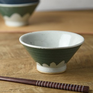 TESHIGOTO 12cm Mt. Fuji Japanese Rice Bowl Green Mt. Fuji MINO Ware