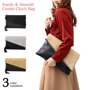 Tassel Suede smooth Combi Clutch Bag Specification