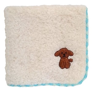 Towel handkerchief with a puppy embroidery!   /  Toy Poodle