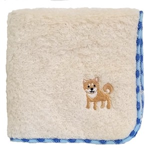 Towel handkerchief with a puppy embroidery!   /  Shiba-inu