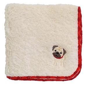 Towel handkerchief with a puppy embroidery!   /  Pug