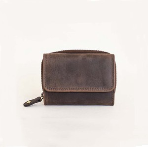 All Leather Wallet Three Compact Cow Leather Men's Ladies Brown