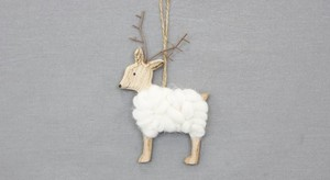 Wood Wool Reindeer Ornament
