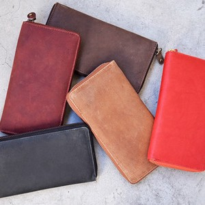 All Leather Long Wallet Cow Leather Men's Ladies
