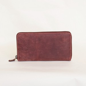 All Leather Long Wallet Cow Leather Wine Men's Ladies Round Fastener Wine Red