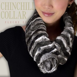 Natural Chinchilla Color Real Fur Fur Scarf