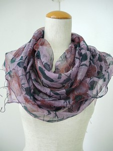 Soft Floral Pattern Silk Cotton Print Large Format Scarf