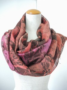 Soft Japanese Style Floral Pattern Silhouette Dyeing Large Format Scarf