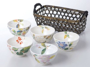 Flower Japanese Rice Bowl Set Japanese Rice Bowl Floral Pattern Mino Ware