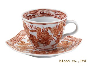 Grape Coffee Cup Saucer 30ml Red Drawing Painting 1Pc Mino Ware