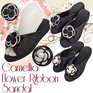 Ribbon Heel Sandal Flower Office Sandal Room Shoe 2 Tone