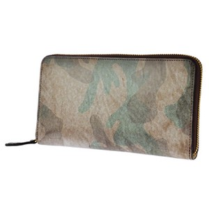 Men's Camouflage Leather Round Fastener Long Wallet Large capacity