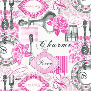 Paper Napkin Pink French Style