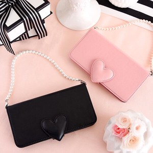 iPhone Case Genuine Leather Notebook Type Heart Heart Diary
