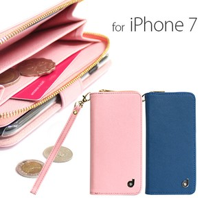 iPhone SE Case Zipper Wallet Attached Diary Case