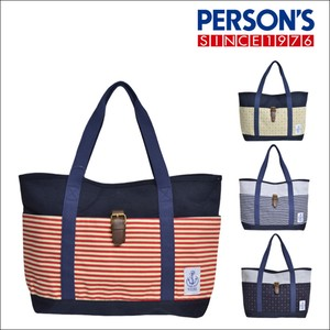 Light-Weight Border Dot Bi-Color Marine Cotton Tote