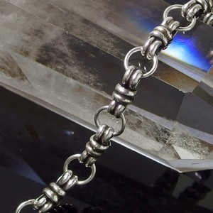 Silver 925 Double Ring Chain Hand Maid Smoked Chain Necklace