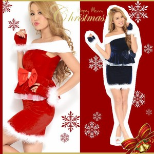 Hand Warmer Attached Santa Claus Santa Dress Off-Shoulder