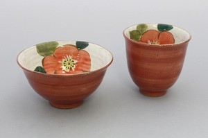 Everyday Red Flower Rice Bowl Japanese Tea Cup