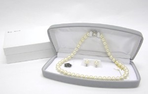 Pearl Necklace Earring Set Exclusive Use Attached Case Necklace