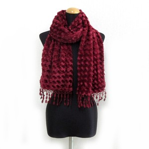 A/W Stole Scarf Fluffy Polyester Material Elegance A/W Stole Pattern Wine
