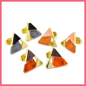 3 Colors Triangle Pierced Earring