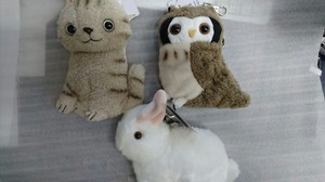 Animal Attached Commuter Pass Holder Cat Owl Rabbit