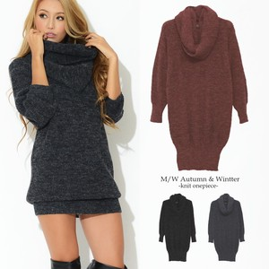 Snood Attached Knitted One-piece Dress Plain Long Sleeve Pullover Scarf