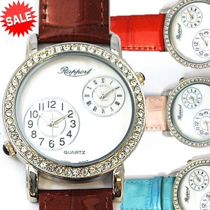 Twin Movement Watch Belt Genuine Leather Fashion Watch Ladies Wrist Watch