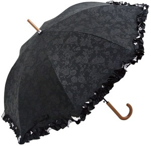 UV Cut All Weather Umbrella Emboss Floral Pattern Frill
