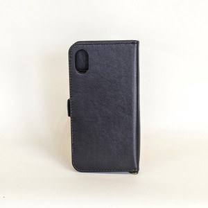 Cow Leather Case Black Notebook Type Smartphone Case Men's Ladies Black