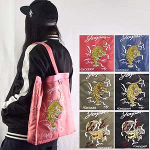 New Color Polyester Twill Sukajan Jacket Embroidery Tote Bag Travel Bag