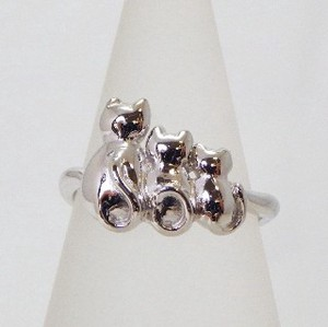 Silver 925 cat Ring Three