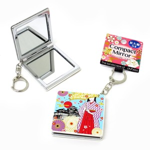 Japanese Style Compact Mirror Key Ring Attached Square Shape Japanese Clothing Mt. Fuji